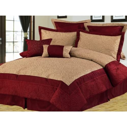 12pcs Queen Burgundy And Gold Bedding Bed In