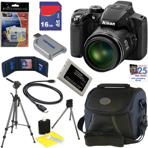 "Discover Bargain Nikon COOLPIX P510 16.1 MP CMOS Digital Camera with 42x Zoom and ""GPS"" (Black) + EN-EL5 Battery + 9pc Bundle 16GB Deluxe Accessory Kit"