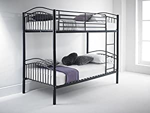 Happy Beds Capri Quality Metal Bunk Bed 3ft Single 2x Mattress Home Furniture