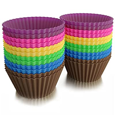 Silicone Cupcake Liners / 24 Reusable Baking Cups Includes Silicone Scraper by Baketown Girls
