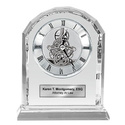 Superb Personalized Silver Da Vinci Arch Crystal Clock With Silver Engraving  Plate. This Engraved Crystal Desk Clock Will Make A Unique Retirement Gift  Wedding ... Idea
