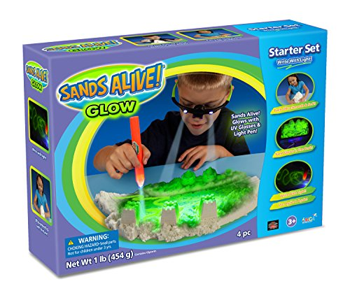 Sand Molds Glow In The Dark Starter Set - 1 lb Glow Play Sand, UV Glasses, Pen Light and Sand Tray (Sands Alive Starter compare prices)