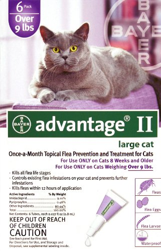 Bayer Advantage II Purple 6-Month Flea Control for Cats 9+ lbs.