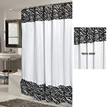 Serengetti White Zebra Print Fabric Shower Curtain With Faux Fur Trim & Liner