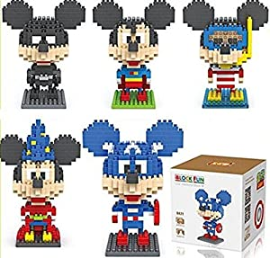 1 Set of 5 Crossdressers Mickey Disney Superhero Toy Building Blocks for Children