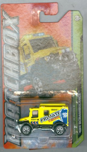"Matchbox 2012-109 MBX Jungle 4X4 Scrambulance Yellow ""Primate Rescue"" 1:64 Scale - 1"