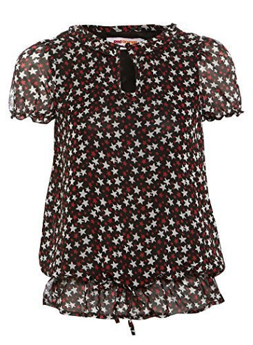SS7 New Girls Star Print Chiffon Top, Age 7 to 13 Years (Age - 13, Black)