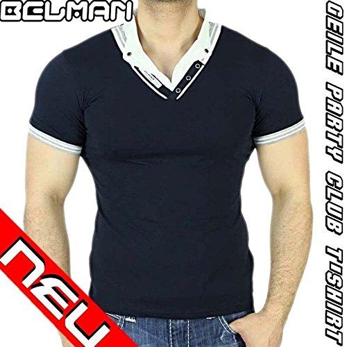 Belman da uomo a maniche scollo a V maglietta Polo camicia a maniche lunghe stile giapponese M25 Blau xxl