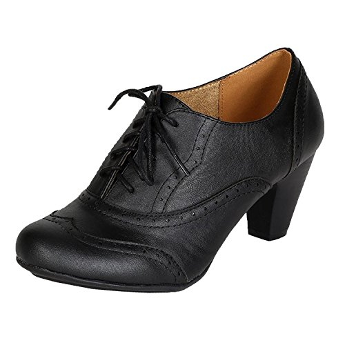 Refresh Leatherette Lace Up Oxford Chunky Booties Women Ankle Heels Black 11 B(M) US