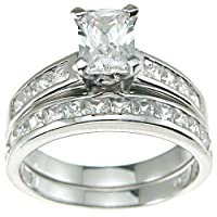 Emerald Cut Cubic Zirconia CZ Wedding and Engagement Ring Set in Sterling Silver