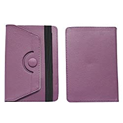 BRAIN FREEZER ROTATING WITH BUTTON 7INCH FLIP FLAP CASE COVER POUCH CARRY FOR HCL ME U3 1.0 PURPLE
