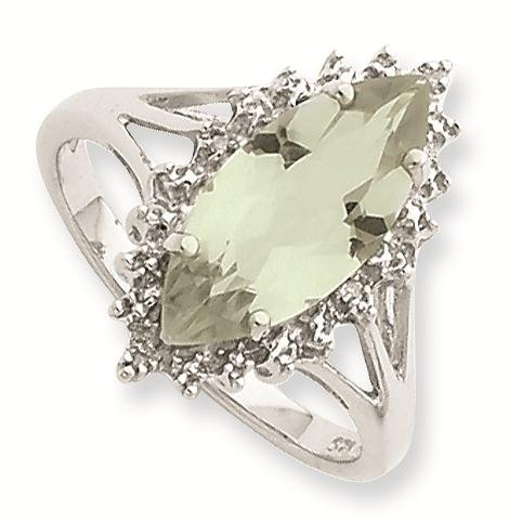 Sterling Silver Rhodium Green Amethyst Diamond Ring