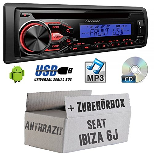 SEAT IBIZA 6J Anthracite Noir-Pioneer deh1800ubb-Kit de montage autoradio CD/MP3/USB -