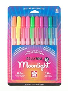 Sakura 38176 10-Piece Gelly Roll Assorted Colors Blister Card Moonlight Gel Ink Pen Set