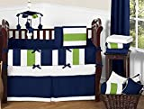 Navy Blue, Lime Green and White Fabric Memory/Memo Photo Bulletin Board for Stripe Collection