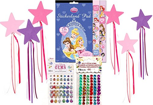 Princess Craft Activity Set for 6 -Fun Dress Up Wands to Decorate with 276 Princess Stickers including Motivational Stickers and Self Stick Rhinestone Gems - Fun Party, Birthday (Eric Little Mermaid Costume)