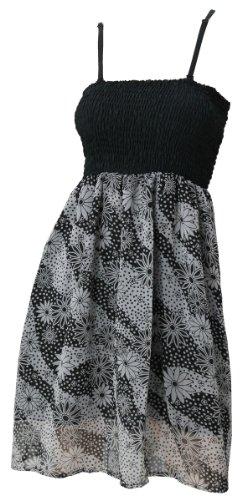 La Leela Chiffon Sheer Black & White Flower Printed Smocked Short Tube Dress