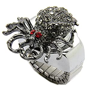 E-Future Alloy Spider Black Rhinestone Clamshell Style Unisex Quartz Ring Watch