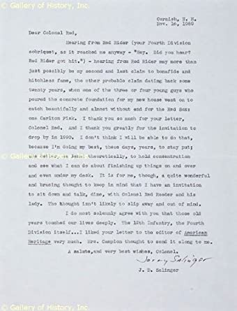 J. D. SALINGER - TYPED LETTER SIGNED 11/16/1989