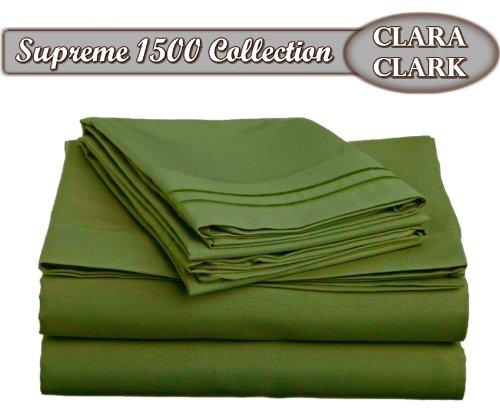 Clara Clark ® Supreme 1500 Collection 4pc Bed Sheet Set - Queen Size, Calla Green