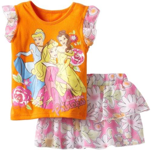 Disney Little Girls' Toddler Princess Floral Skooter Set, Orange, 2T