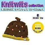 キッズ 冬用帽子 BEADYGEM ニット帽子 結びBONBON ニットキャップ 134-277-205-51(ブラウン) F