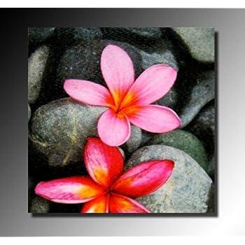 Pas cher tableau toile fleurs sur galets peinture a l for Chassis tableau pas cher