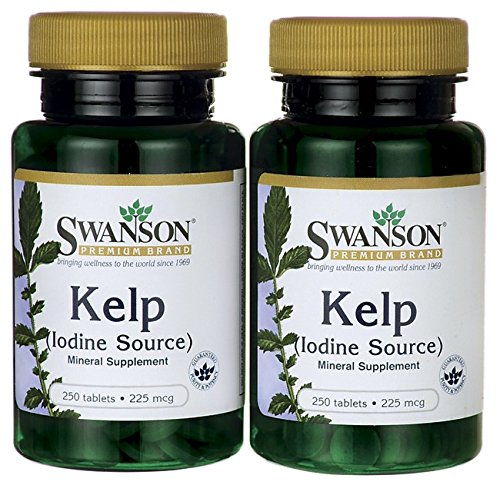 Swanson Premium Brand Kelp (Iodine Source) 225Mg -- 2 Bottles Each Of 250 Tablets