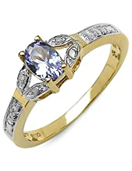 0.46CTW Tanzanite & White Diamond 14K Yellow Gold Plated .925 Sterling Silver Ring