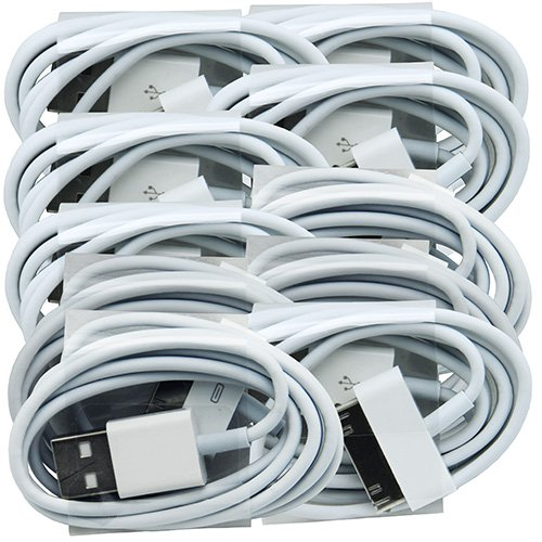 Lot 10 Set USB Sync Data Charging Charger Cable Cord for Apple Iphone 4 4s 4g 4th Gen