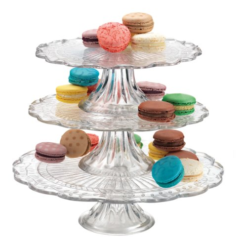 OLYMPIA 3 TIER GLASS CAKE PLATE STAND SERVER (Glass Cake Stands compare prices)
