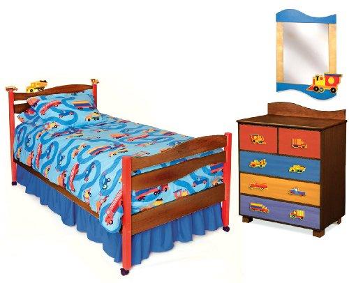 Room Magic Chocolate 5 Piece Bedroom Set, Boys Like Trucks