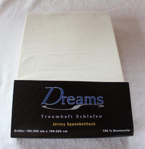 Dreams 100% Baumwolle Jersey Spannbettlaken Farbe Natur Größe 180 x 200 bis 200 x 200 cm Spannbettuch Spannlaken mit Rundumgummi