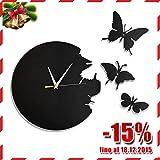 SoBuy EUH52-Sch 3D Horloge décorative cuisine, chambre, pour les enfants sans tic-tac. Pendule papillon murale métallique- Noir