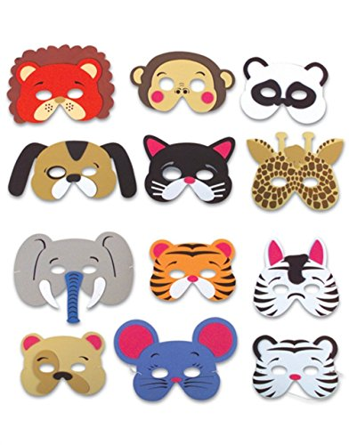 Rhode Island Novelty 12 Assorted Foam Animal Masks for Birthday Party Favors Dress-Up Costume (Birthday Games For Kids compare prices)