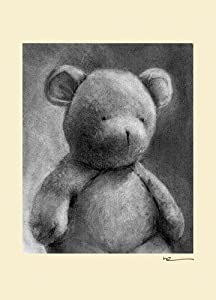 Oopsy Daisy Charcoal Teddy Cream Border Stretched Canvas Wall Art by Margot Curran, 10 by 14-Inch