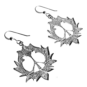 Peace Lotus Silver-dipped Earrings on French Hooks