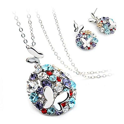 Meilanty signore stabilito dei monili della collana di gioielli colorati con Orecchini - Collane 45 + 5cm e Ciondolo Tondo Silver Edition Colorful Zirconia
