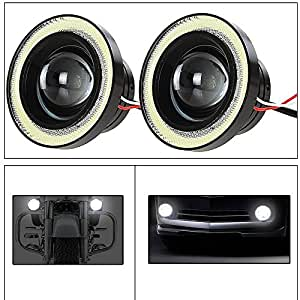 AutoSun 2Pc 3.5Inch Car Fog Lamp Angel Eye DRL Led Light
