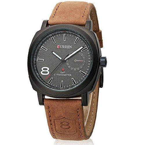 DAYAN Chronometer Quartz-Mode-Uhr mit Lederband - Schwarzes Zifferblatt
