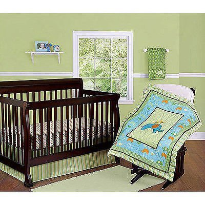 Step By Step 3 Piece Nursery Set (Comforter, Crib Sheet, Dust Ruffle) (Green) (Yellow) (Blue) Unisex