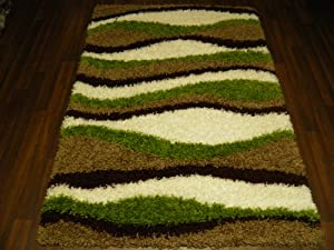 Large Modern Shaggy Green/Brown Luxury 5cm Thick Pile Rug 120x170cm (App 6x4) Top Quality Rugs