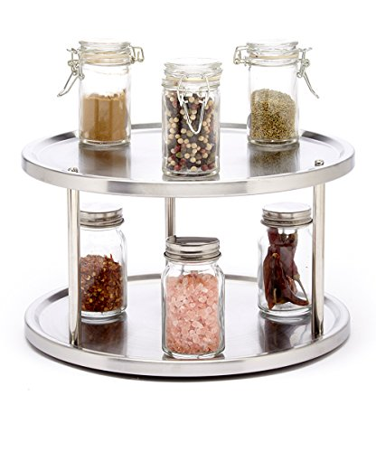 Saganizer 2 Tier lazy susan turntable 360-degree lazy susan organizer use for a spice organizer or kitchen cabinet organizers stain-resistant (Turntable Spice Rack compare prices)