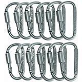 SUNKEEK™12pcs/set Aluminum Carabiner Screw Lock D-ring Key Chain Clip Hook Outdoor Buckle For Hiking Clmbing Fishing