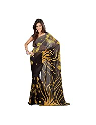 Admyrin Black And Grey Georgette Saree With Blouse Piece