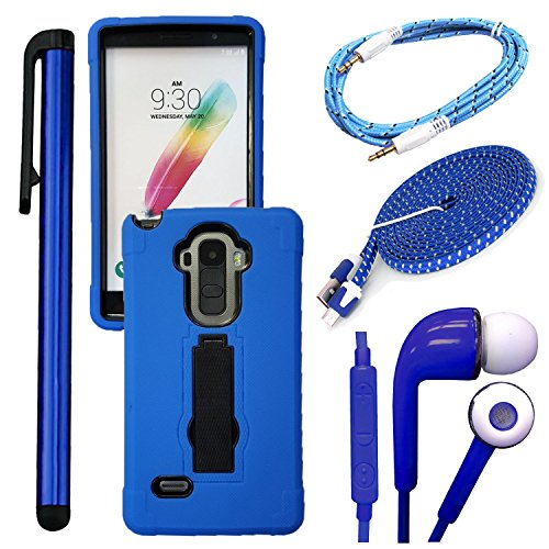 Click to buy QCO WIRELESS Rugged Shock Proof Case + 6ft Premium USB Cable + Braided Aux + In-Ear Stereo Headset & Metallic Stylus Pen Bundle for LG G Stylo LS 770 (MetroPCS / Boost) (4 Items - Kickstand Blue Kit) - From only $69.99
