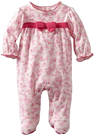 ABSORBA Baby-Girls Newborn Bird Print Footie, Pink, 0-3 Months