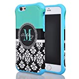 Iphone 6 Case, Meaci® Cell Phone Case for Iphone 6 (4.7 Inch) Case 2 in 1 Combo Hybrid Hard Pc & Rubber Case Dual Layer Bumper with Smooth Exquisite Fashion Flower Pattern Protective Case - Blue Rubber
