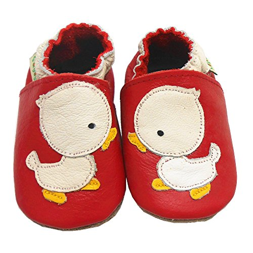 Sayoyo Baby Duck Soft Sole Leather Infant Toddler Prewalker Shoes (6-12 months, Red) - 1
