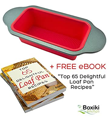 "Gourmet Non-Stick Silicone Bread Loaf Pan by Boxiki Kitchen | Best No-Stick Bread Mold for Baking Bread, Meatloaf, Pound Cake | 13.25"" x 5.75"" x 2.75"", FDA-Approved Silicone w/ Steel Frame + Handles"